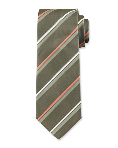 Striped Silk Tie, Green/Orange/White