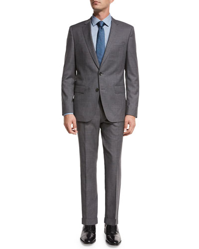 Fresco Wool Two-Piece Travel Suit, Gray
