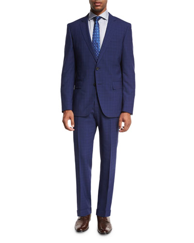 Textured Check Wool Two-Piece Suit, Bright Navy