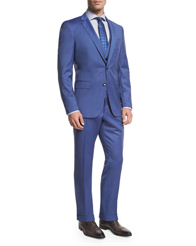 Wool Three-Piece Suit, Light Blue