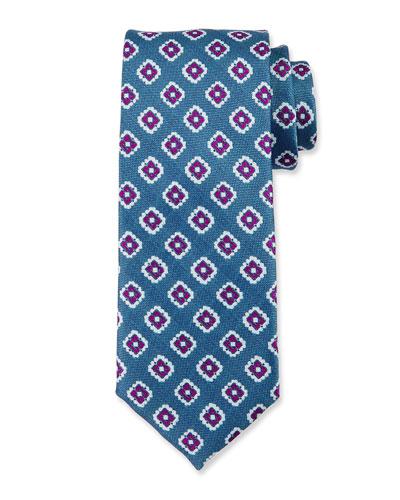 Fancy Diamond Silk Tie, Blue