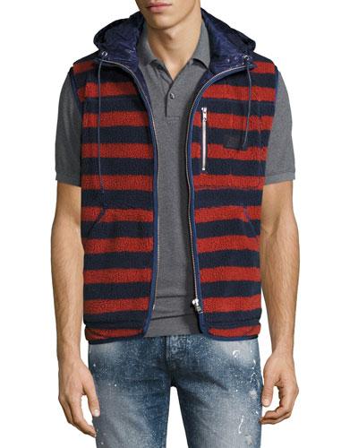 Sherpa Striped Vest w/Hood, Indigo