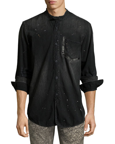 Washed Denim Mandarin-Collar Shirt, Black
