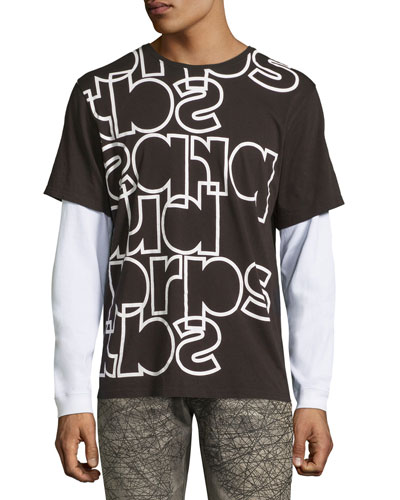 Mixed Up Long-Sleeve Logo T-Shirt, Black