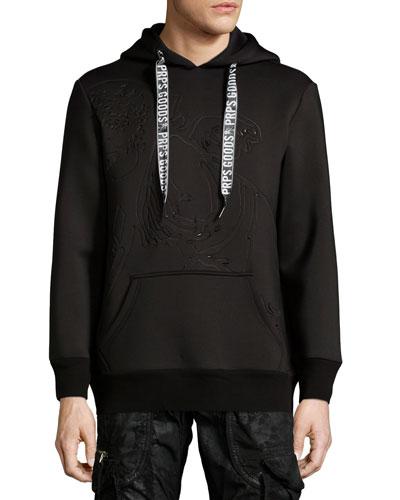 Neoprene Logo Hooded Sweatshirt, Black