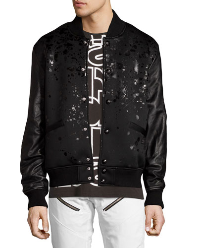 Leather-Sleeve Splatter Bomber Jacket, Black