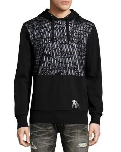 Comic-Strip Mesh-Panel Sweatshirt, Black