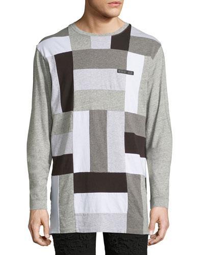 Paneled-Jersey Long-Sleeve T-Shirt, Gray