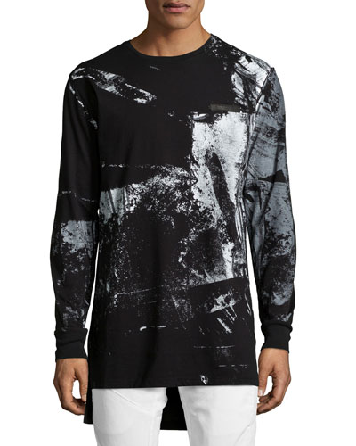 Abstract Long-Sleeve T-Shirt, Black