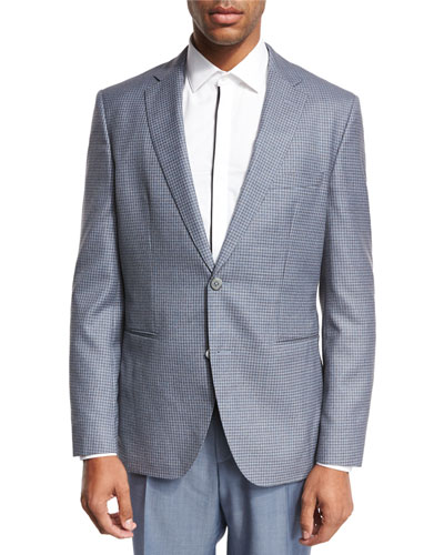 Check Wool-Silk Two-Button Sport Coat, Gray