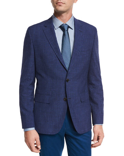 Faded Check Two-Button Sport Coat, Bright Blue