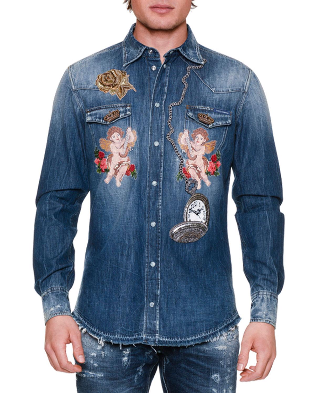 Cherub & Rose Embroidered Denim Shirt, Blue