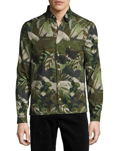 Tropical Leaf Oxford Shirt, Green