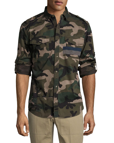 Camo Twill Military Shirt, Green