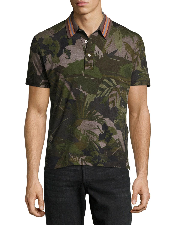 Tropical-Print Polo Shirt, Green