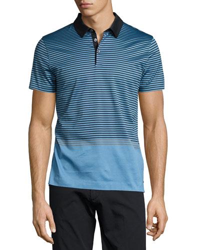 Contrast-Stripe Polo Shirt, Light Blue