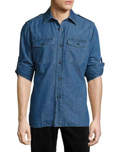 Denim Military Shirt, Medium Blue
