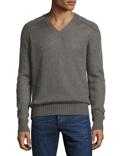 Lightweight V-Neck Sweater, Taupe