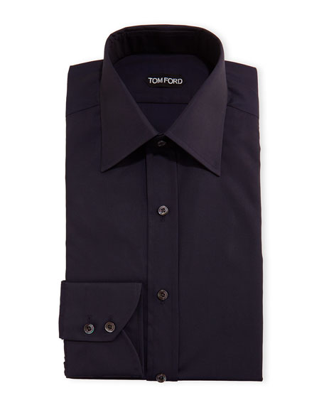 TOM FORD Slim-Fit Classic-Collar Dress Shirt, Navy