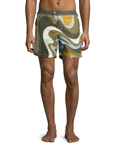 Swirl-Print Swim Trunks, Army/Blue