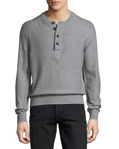 Raglan Cotton-Cashmere Blend Henley Sweater, Gray