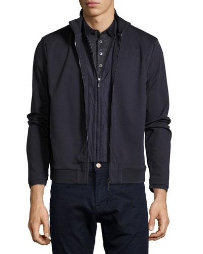 Layered Full-Zip Sweatshirt, Navy