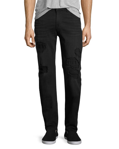 Slimmy Ripped-Repair Slim-Straight Jeans, Black