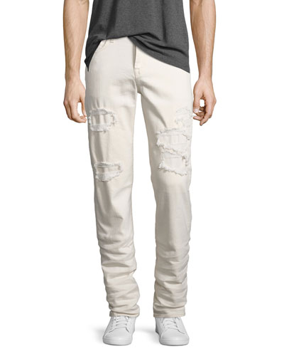Slimmy Ripped-Repair Slim-Straight Jeans