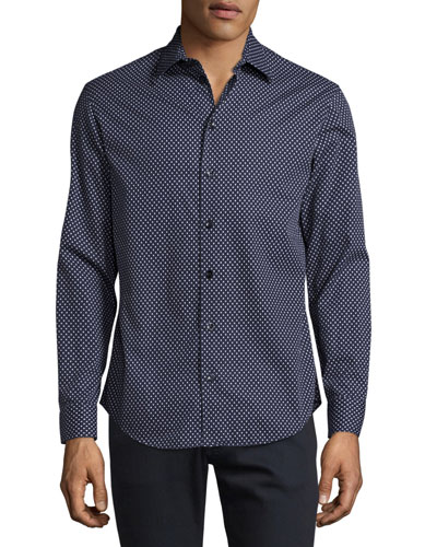 Triangle-Print Sport Shirt, Navy/White