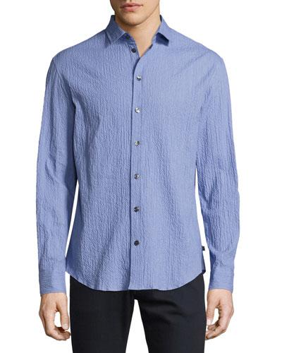 Seersucker Sport Shirt, Blue