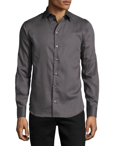 Medallion-Print Sport Shirt, Dark Navy/White