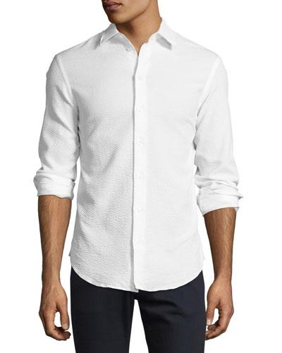 Textured Seersucker Sport Shirt, White