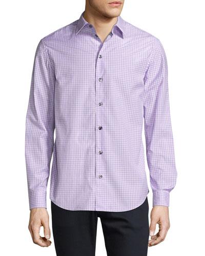 Box-Check Plaid Sport Shirt, Lavender