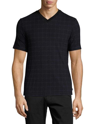 Caiman Grid-Print V-Neck T-Shirt, Blue/Black