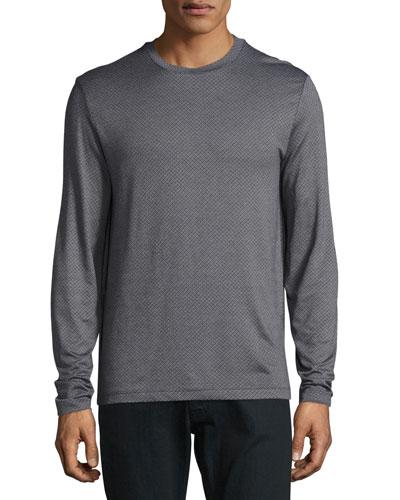 Micro-Diamond Long-Sleeve T-Shirt, Gray