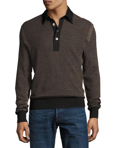 Textured Jacquard Polo Sweater, Black/Tan