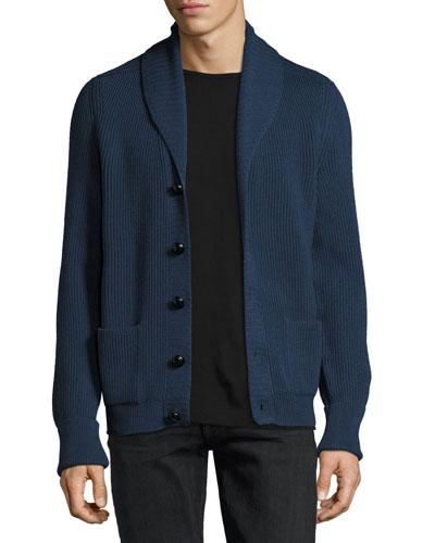 Wedgewood Ribbed Wool Cardigan, Blue