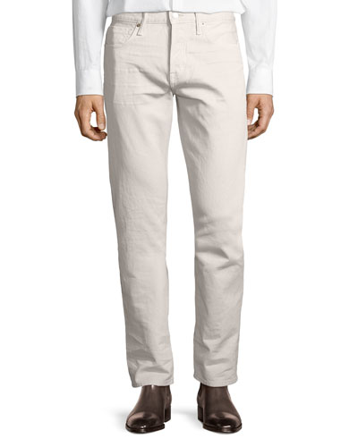 Western Corduroy Straight-Fit Pants, Bone (Neutral)
