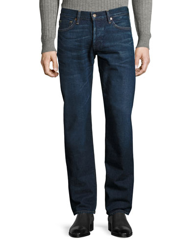 Straight-Fit Denim Jeans, Worn Blue