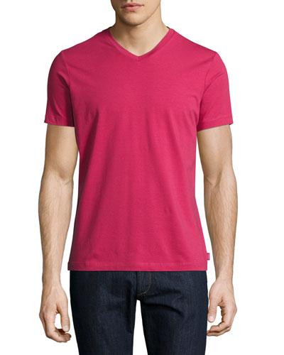 Stretch-Cotton V-Neck T-Shirt, Raspberry