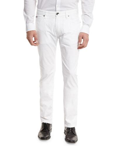 AJ Stretch Gabardine Slim-Fit Pants, White