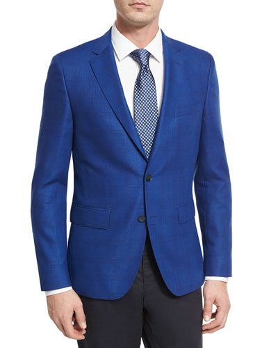 Tonal Glen Plaid Wool Sport Coat, Bright Blue
