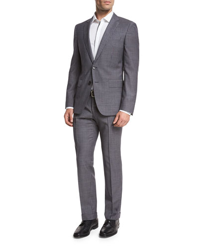 Pinstripe Wool Two-Piece Suit, Denim Blue