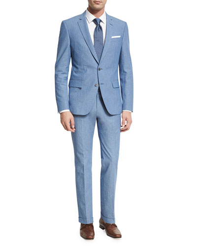 Textured Two-Piece Suit, Blue
