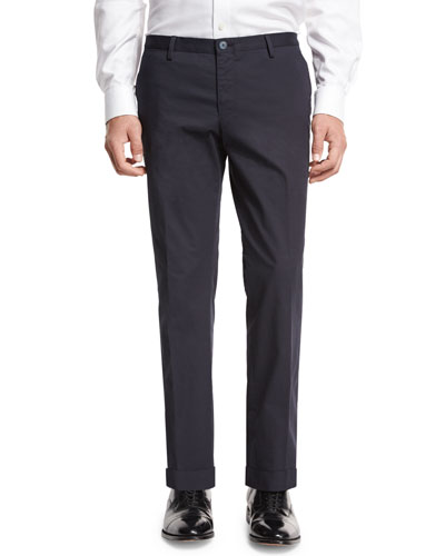 Stretch-Cotton Flat-Front Trousers, Navy