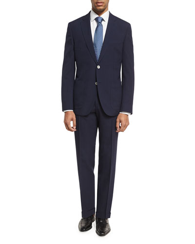 Grid-Textured Two-Piece Suit, Blue