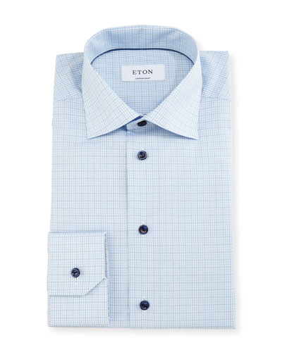 Contemporary-Fit Soft-Check Dress Shirt, White/Navy/Blue