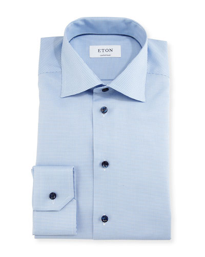 Contemporary-Fit Houndstooth Dress Shirt, Blue