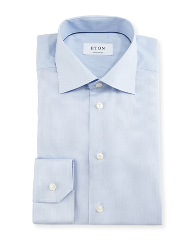 Contemporary-Fit Fine-Stripe Dress Shirt, Blue