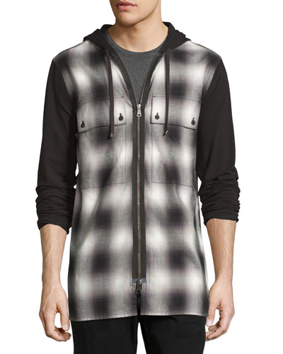 Gradient Plaid Zip-Front Hoodie, Black